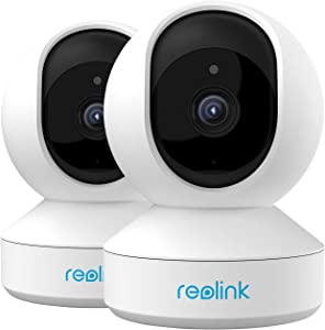 Home Security Camera System, Reolink 3MP HD Plug-in Indoor WiFi Camera, Pan Tilt Pet Camera, Baby Monitor, Night Vision, 2 Way Audio, Motion Alerts, 7 Day Free Cloud/Local SD Card Storage, E1(2 Pack)