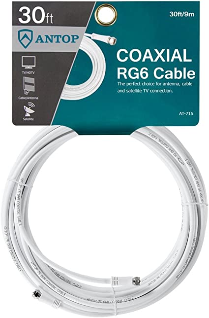 30 m RG6 Cable Coaxial de antena, cable alargador de cable de antena de TV digital, apto para, módems, receptores de televisión por satélite
