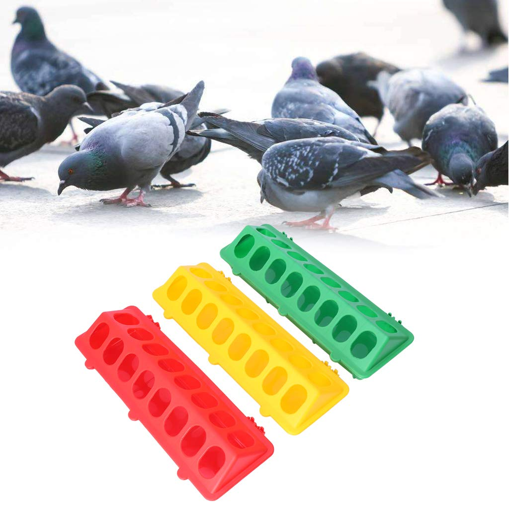 Junlinto,Plastic Flip-Top Bird Poultry Trough Feeding Chicken Animal Farming Tool Case Green