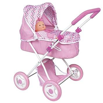 ColorBaby - Carrito de paseo infantil y muñeca, color rosa con corazones (43110)