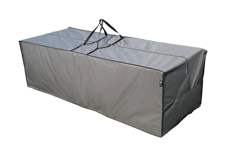 Sorara-Coperta e cuscino con borsa, colore: grigio, dimensioni: 125 x 32 x 50 cm (L x P x A)/poliestere/& Rivestimento impermeabile in PU, per mobili da giardino