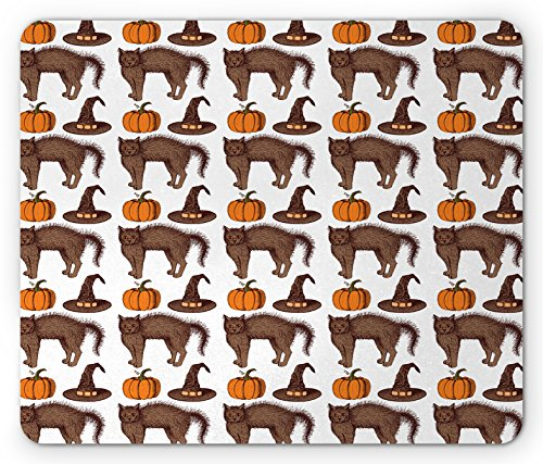 Halloween Mouse Pad by Ambesonne, Seasonal Vintage Pattern with Pumpkin Squash Witch Hats and Cat Figures, Standard Size Rectangle Non-Slip Rubber Mousepad, Brown Orange - Hat Standard Size