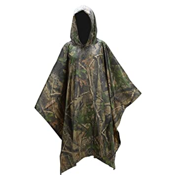 Waterproof Army Hooded Ripstop Rain Poncho Military Camping Hiking Light-weight