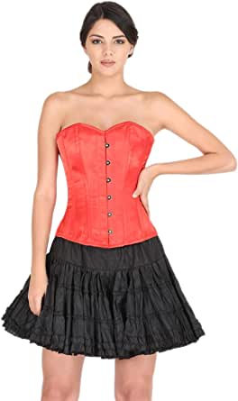 Womens Red Satin Corset Gothic Costume for Halloween 2019 Burlesque Overbust Top