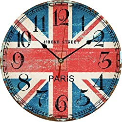 Wooden Wall Clock Large Shabby Chic Rustic Kitchen Home Antique Style 1