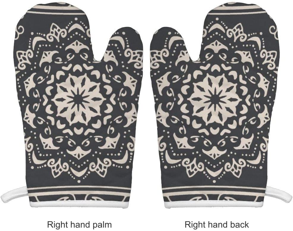 Yilooom Heat Resistant Oven Mitts and Potholder Kitchen Set Non-Slip Surface Cooking Gloves for Cooking Baking Grilling Boho Pattern