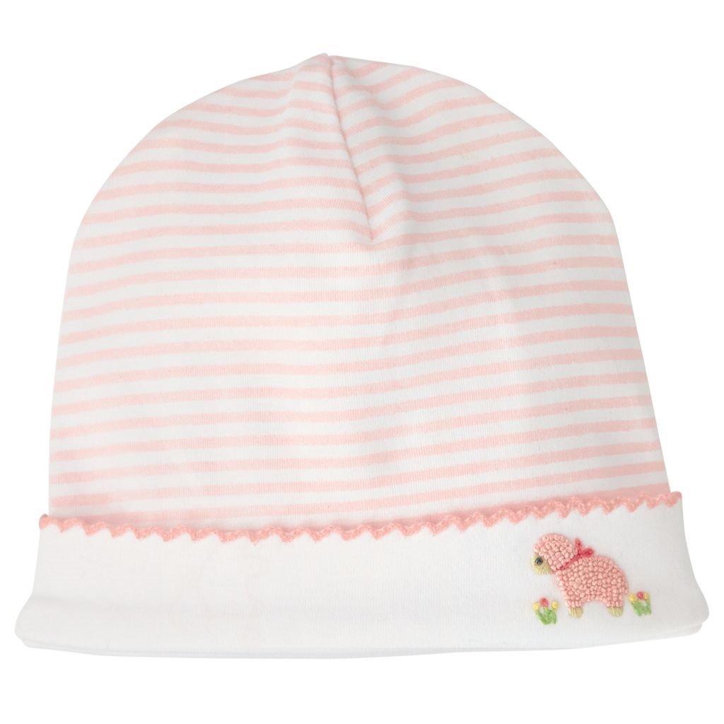 Mud Pie Baby Newborn Girl French Knot Lamb Cap Hat 0-3 Months Light Pink