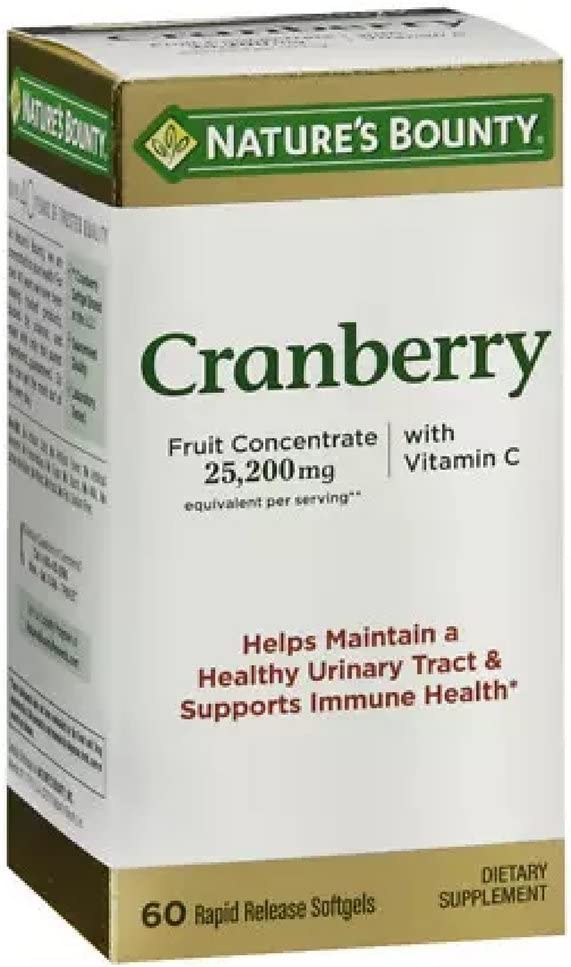 Nature s Bounty Cranberry Dietary Supplement 60 Soft Gels Pack of 4