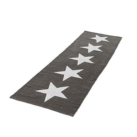 Pureday Teppich Big Stars Laufer Sterne Baumwolle Grau Weiss 70 X 240