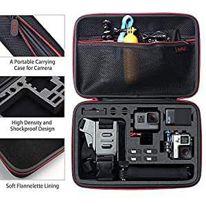 Large Carrying Case for GoPro HERO5, 4, +LCD, Black, Silver, 3+, 3, 2 and Accessories by HSU with Fully Customizable Interior Carry Handle and Carabiner Loop (Large Size Red)