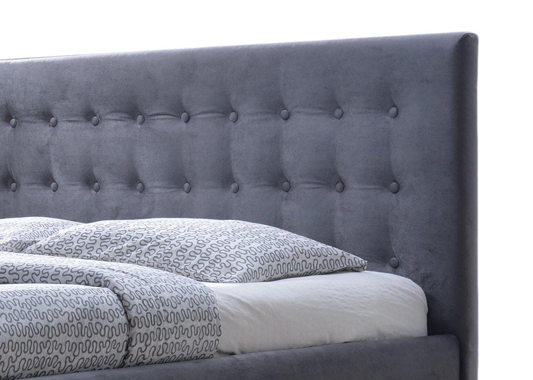 Wholesale Interiors Baxton Studio Margaret Modern and Contemporary Grey Velvet Button-Tufted King Platform Bed - King