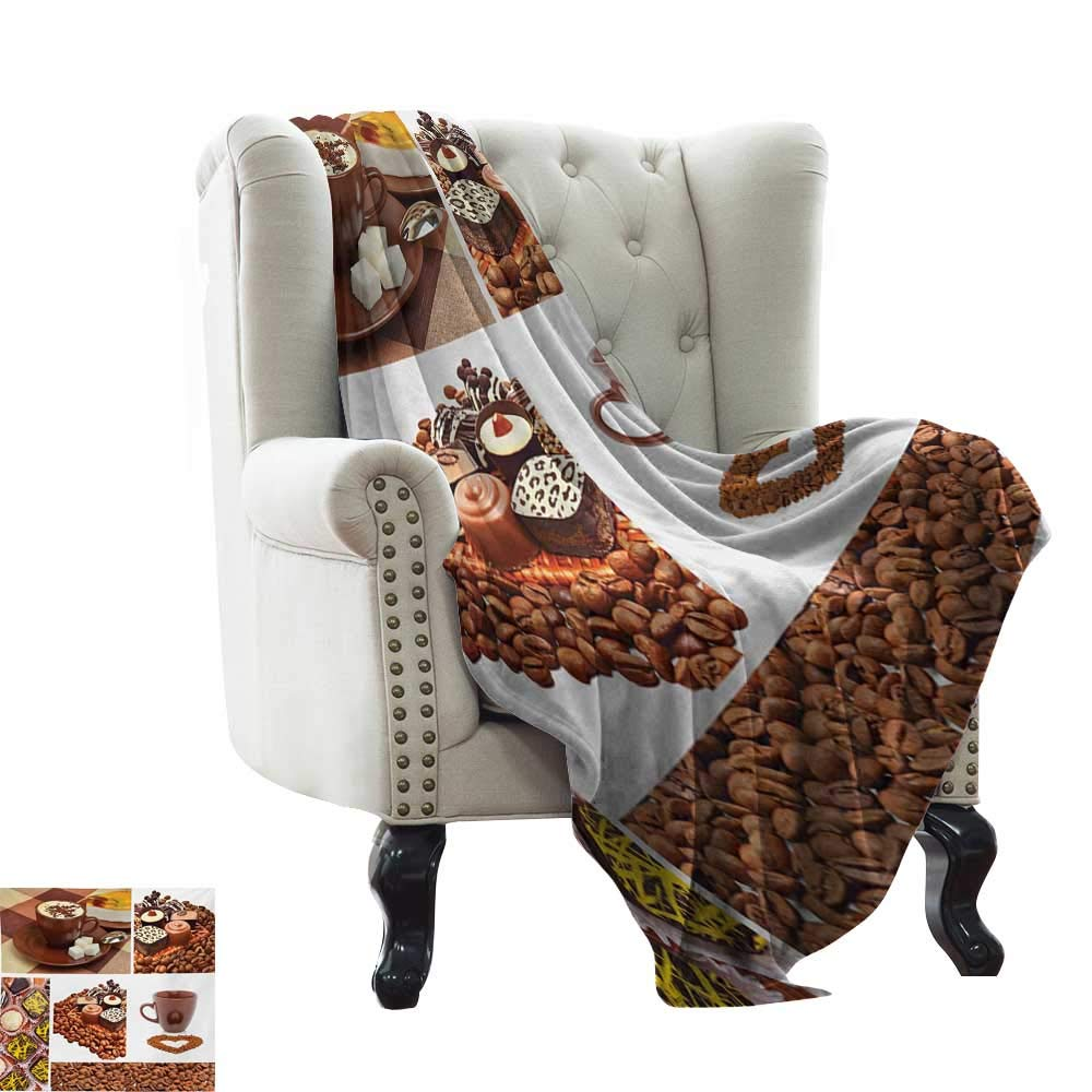Kitchen,Super Soft Lightweight Blanket,Collection of Chocolate Sweets Muffins Coffee Beans and Mugs Cappuccino Pastries 50''x30'',Super Soft and Comfortable,Suitable for Sofas,Chairs,beds