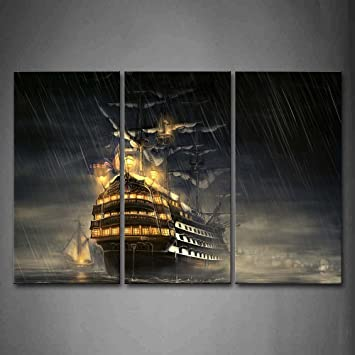 Amazon.com: First Wall Art - Huge Ship Over Water In Rainy Day Wall Art Painting Pictures Print On Canvas Car The Picture For Home Modern Decoration: ...