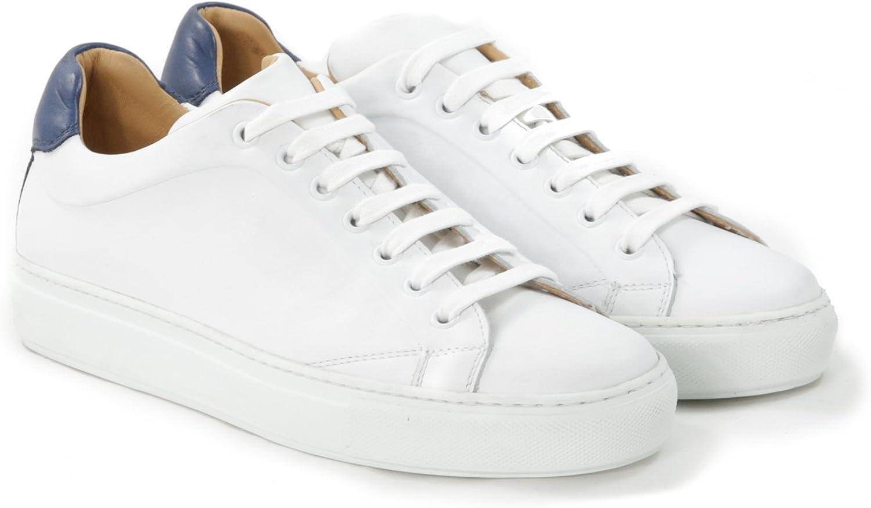 Sneakers Uomo in Pelle Stringata di Colore Bianco E Blu