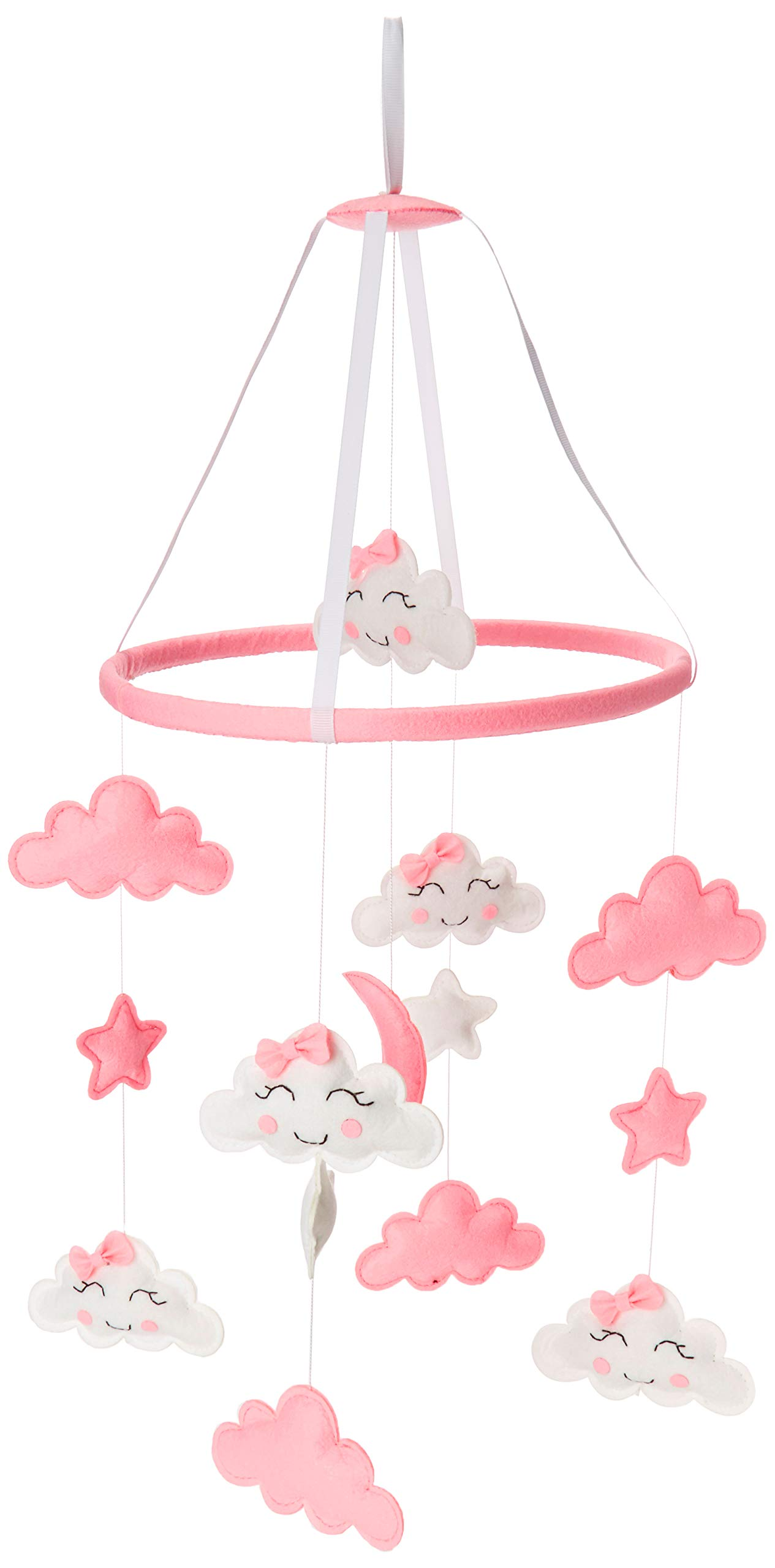 Baby Mobile for Crib Felt, Hanging Toys, Nursery Decor for Girls | White & Pink Room Decorations, Clouds, Moons & Stars | Safe, Non-Toxic, Gifts for Newborn, Great for Baby Shower