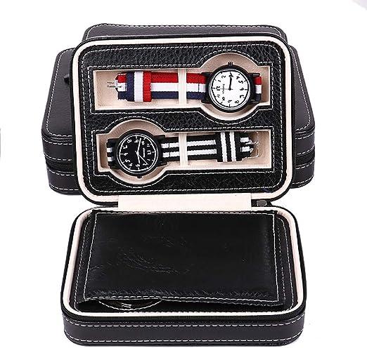 Bling Caja de Relojes con Cremallera de 4 Ranuras portátil, Cuero de PU de Fibra de Carbono de Grado Superior (Negro): Amazon.es: Hogar