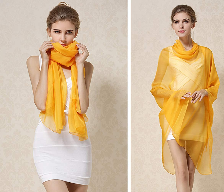 K-Elewon Solid Color Silk Scarf Fashion Scarves Wrap Long Lightweight Shawls for Women