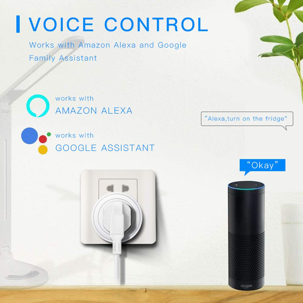 No Hub Required,16A,1 Pack Smart Socket Compatible with Alexa,IFTTT and The Google Assistant,Remote Controlled with Timer Function by Smart Life App Smart Plug Lanwande WiFi Smart Plug Mini Outlet