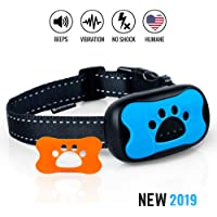 Dog No Bark Collar - Anti Barking Vibration Control Device for Small Medium Large Dogs - Puppy Training Deterrent - No Shock - 2019 Model - Fast Results!