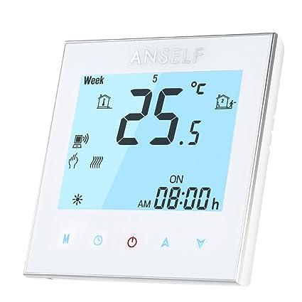 Anself - 16A 110 ~ 240V Termostato Programable de Calefacción Eléctrico WIFI Inteligente, LCD Pantalla