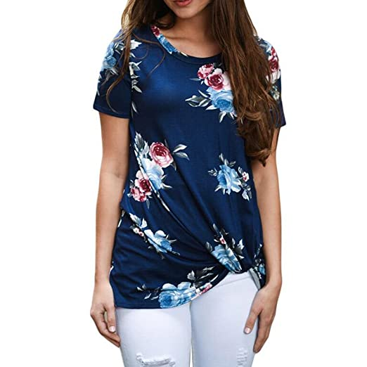220c171dbde GOVOW Spring Deals 2019 ! Fashion Women Short Sleeve Blouse O-Neck Printed Tops  T