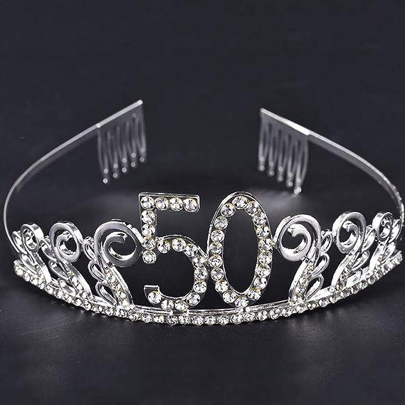 Corona de 50 cumpleaños con brillantes de alta calidad para ...
