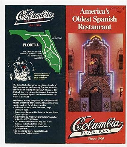 Amazon com : Columbia Gem of Spanish Restaurants Menu