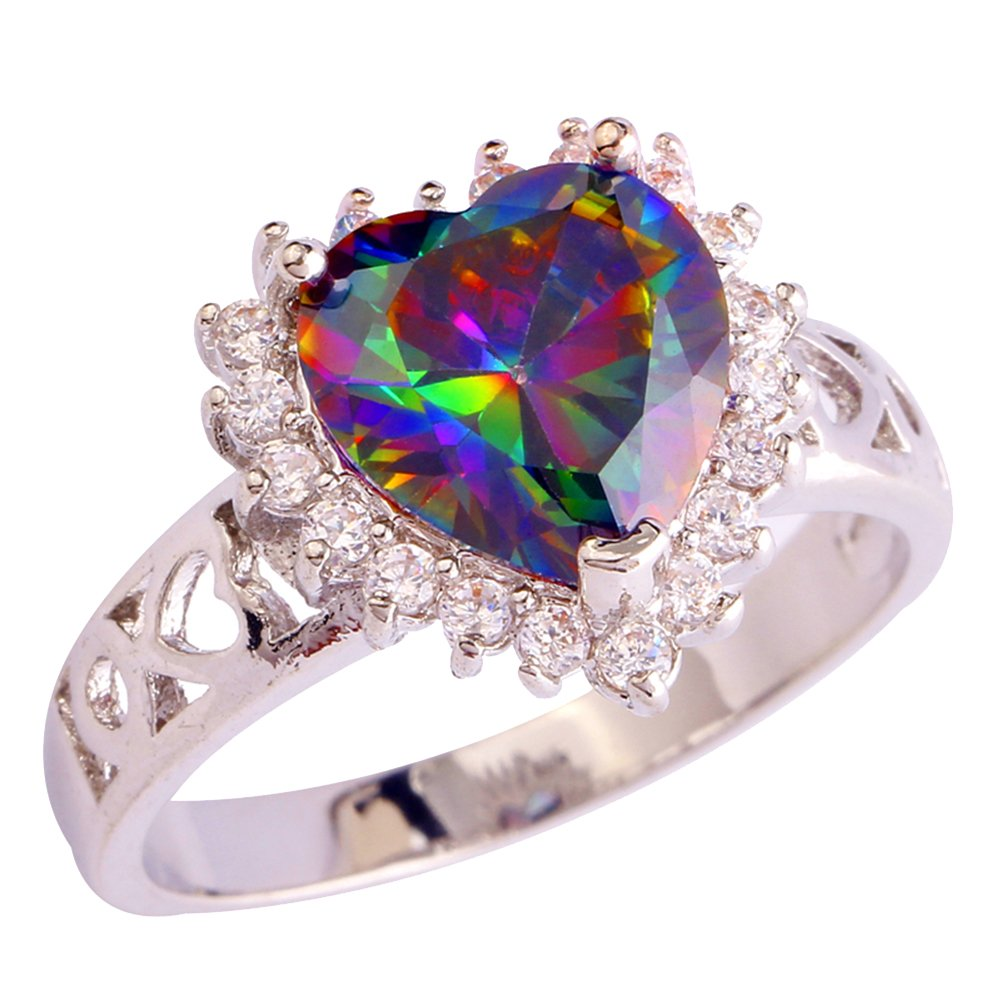 Psiroy Women's 925 Sterling Silver Created Rainbow Topaz Filled Heart Halo Wedding Ring Size 11