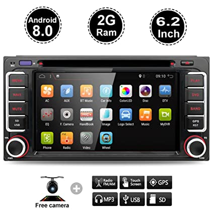 6.2inch in-Dash Car Stereo Android 8.0 2G RAM 16G ROM Double Din Stereo