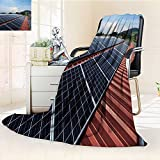 Decorative Throw Duplex Printed Blanket Flat Panels of Solar Panels Warm Microfiber All Season |Home, Couch, Outdoor, Travel Use/59 W by 39.5'' H