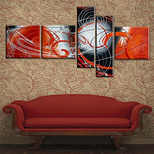 Modern Abstract Oil Painting on Canvas Handmade 5 Panel Black and White Red Wall Art Pictures for Living Room Framed Stretched Ready to Hang As Unique Gift (64''Wx34''H) by Yatsen Bridge