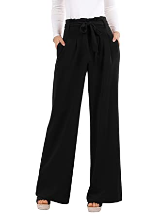 ae000332665947 Amazon.com: Geckatte Womens Palazzo Wide Leg Pants High Waist Casual Loose  Flowy Pants with Belt: Clothing