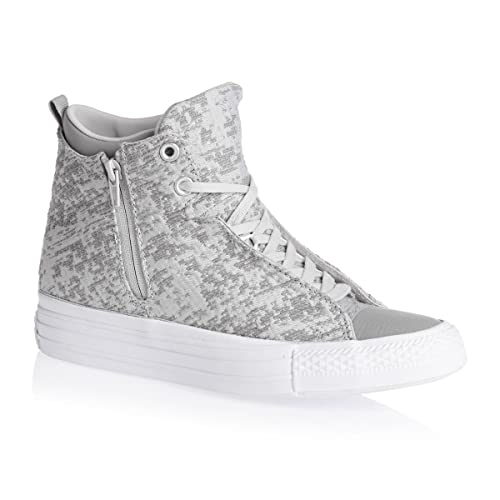 6bd6755642cb72 Converse Womens Chuck Taylor Selene Winter Knit Mid Grey Textile Trainers 4  UK