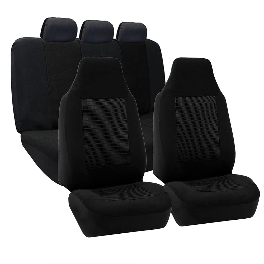 Set of 2 FH Group FB107GRAY102 Gray Premium Fabric Bucket Car Seat Cover Airbag Compatible