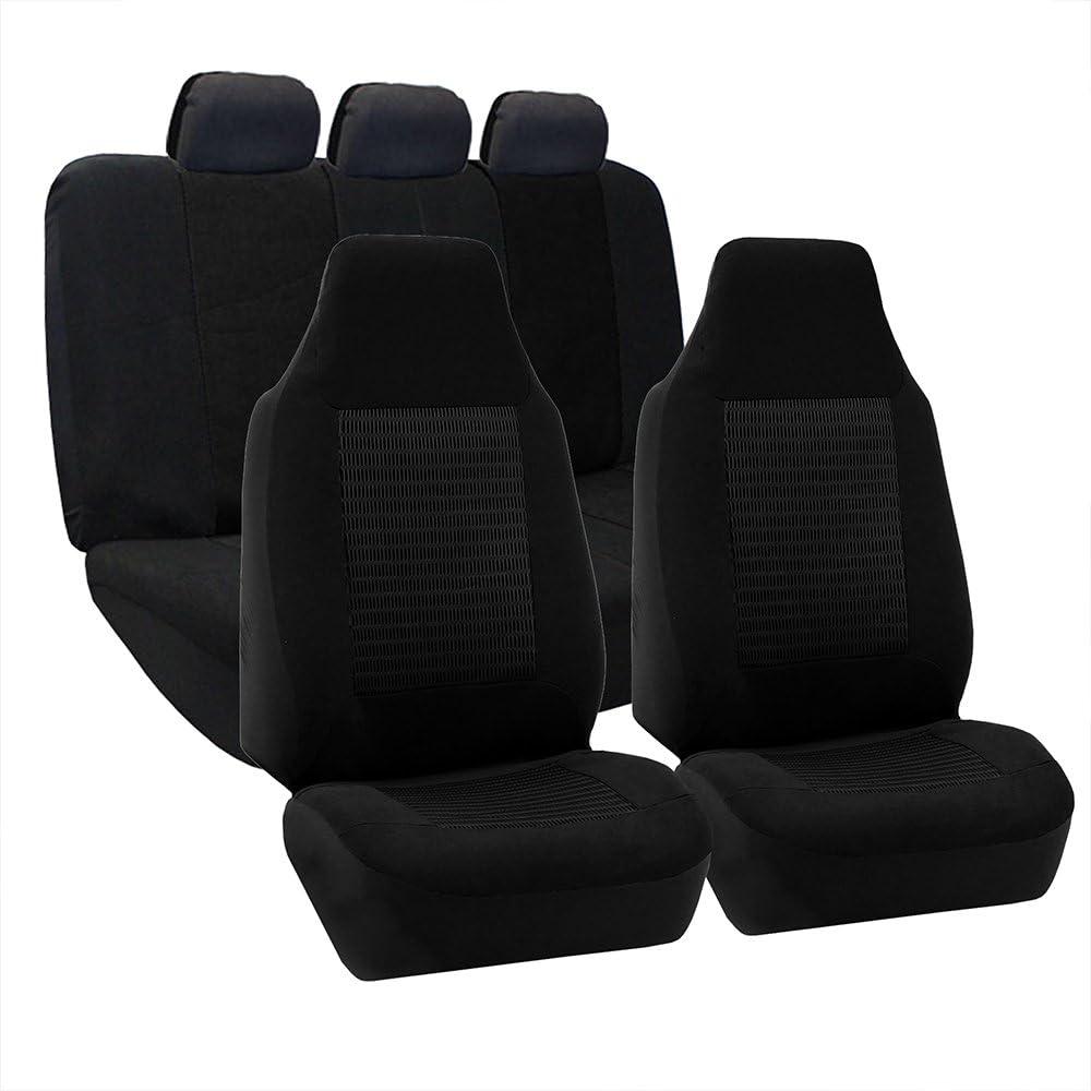 FH Group FB107BLACK115 Seat Cover (Premium Fabric Full Set Airbag Compatible Black)
