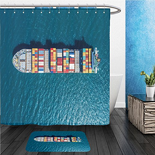 Beshowereb Bath Suit: ShowerCurtian & Doormat container container ship in import export and business logistic by crane trade port shipping - Shipping Funky Pair