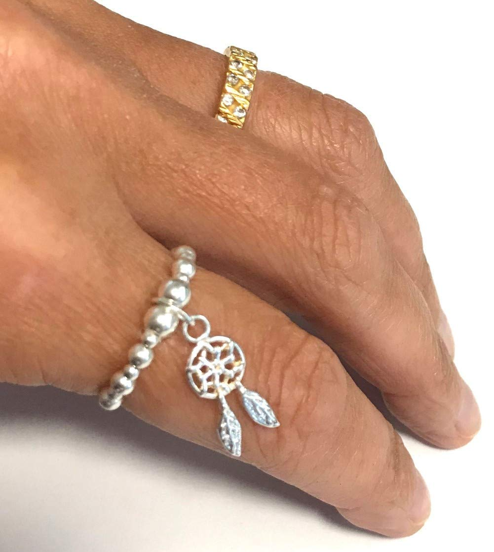Karma Gems Sterling Silver Ball Bead Stretch Stacking Dream Catcher Ring