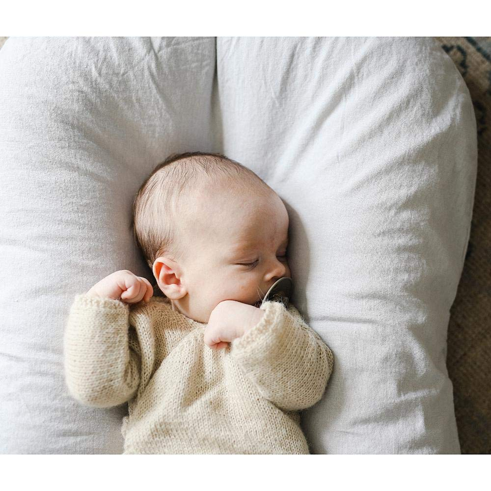 Patented Sensory Lounger for Baby Organic Cotton Linen Collection Virgin Fiberfill Snuggle Me Organic Rosewood