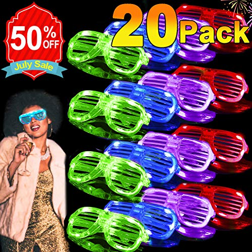 20 Pack Light Up Glasses 2019 Glow in The Dark Party Shades 5 Color Led Party Glasses Shutter Shades for Adults Kids LED Neon Sunglasses Neon Party Supplies Rave Night ()