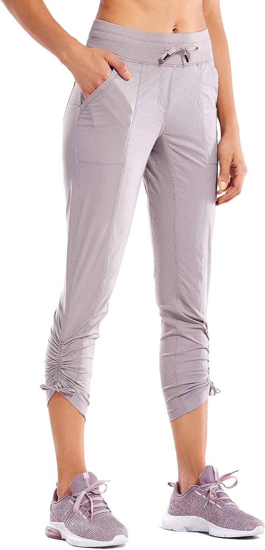 CRZ YOGA Womens Go to Studio Jogger Striped Cargo Pants Drawstring Leg 7//8 Workout Casual Pants