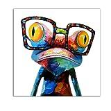 Gemini _ Mall® dipinto a mano pittura ad olio carino rana su tela Frameless moderno pop stampa artistica da parete immagini decorazione, Frog, 50x50cm/20x20in