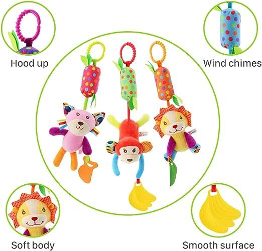 Lanero Baby Spielzeug 3 Packs Kinderwagen Spielzeug Kinderbett Anh/änge Cartoon Tier h/ängen Rassel Kleinkind Spielzeug weiche Flock Stoff mit Klingel Glocke