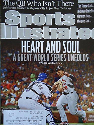 2011 World Series-Texas Rangers & St. Louis Cardinals-Sports Illustrated magazine, October 31, 2011-Texas Rangers catcher Yorvit Torrealba & Cardinals' Jon Jay on cover.