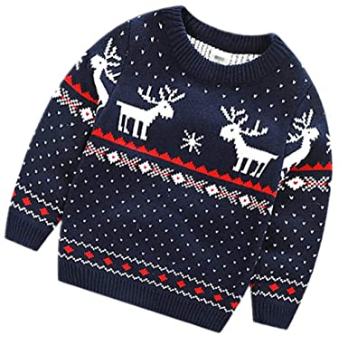 f15642d46a28 Amazon.com  Emoyi Children Boys Christmas Sweaters Reindeer Knitted ...