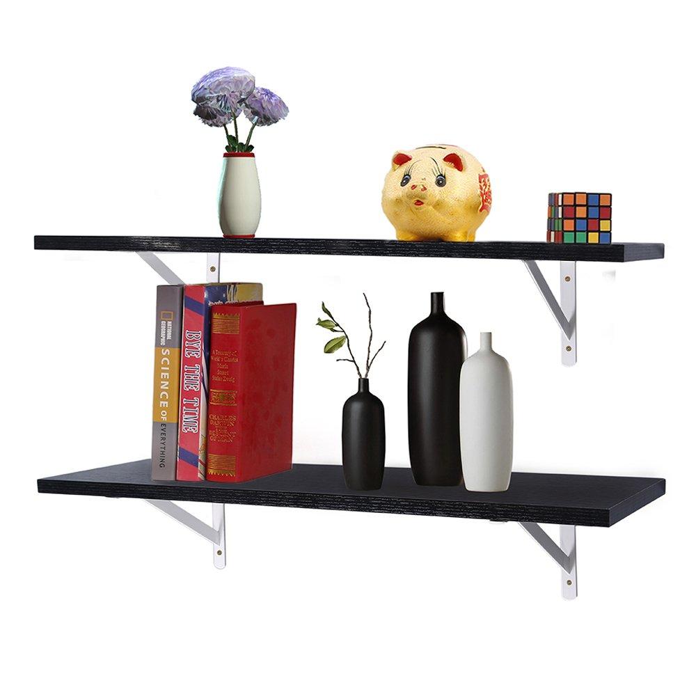 2 Sets Floating Shelves, 25.59'' Wall Mounted Wood Storage Shelf, Display, Decor for Bedroom, Living Room, Bathroom, Kitchen, Offic