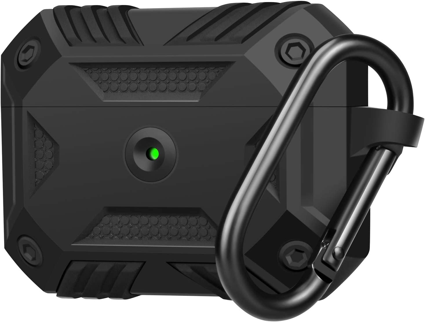 OROBAY for Airpods Pro Case Cover, Full-Body Shockproof Rugged Soft Silicone Protective Case Cover with Carabiner for Apple Airpods Pro (2019), Matte Black