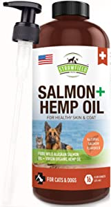 Wild Alaskan Salmon Oil for Dogs - w/ Organic Pet Hemp Oil - 16 oz - Liquid Omega 3 Fish Oil for Dog Shedding, Dry Itchy Skin, Coat Supplement, Anti Inflammatory Joint Support, Allergy Relief, USA