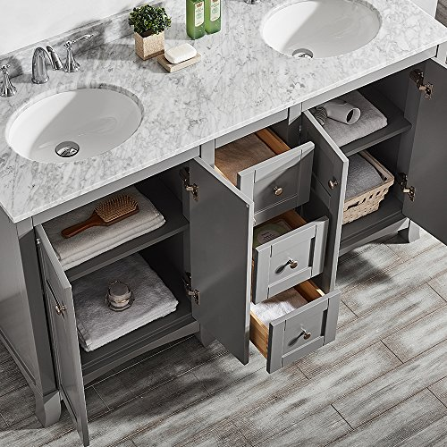 Vinnova 730060-GR-CA-NM Arezzo 60 inch Double Vanity Set,,, Grey 85%OFF