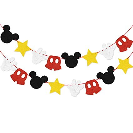 Mickey Mouse Birthday Party Banner, Minnie Mouse Garland Themed Party Decoration Supplies Boys Girls Party Favors Party Supplies Baby Shower Decor ...