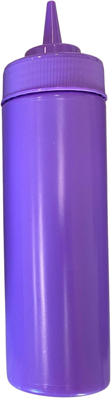 BPA Free Food Prep 12 oz Plastic Condiment Squeeze Bottle with Twist On Cap for Hot Sauces Condiments Dressings (purple)